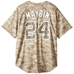 MLB Mens San Diego Padres Cameron Maybin Digital Camo Short Sleeve 6 Button Synthetic... by Majestic