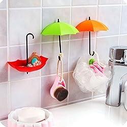 Italish Umbrella Drop Style Clothes Key Hat Wall Hanger Hooks 3 pcs