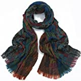 Winter Scarf Wrap Multi Color's Thick Crinkle Fabric Rust Green Brown175 x 25 cm