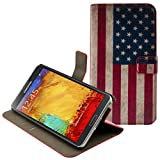 Kwmobile Chic leather case for the Samsung Galaxy Note 3 N9000 / N9005 with convenient stand function - MOTIF Flag design (USA) (Blue Red White)!