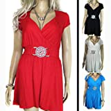 Ladies Grecian Wrap Long Length Lovely Belted Tunic Tops in Black Navy Red Cream Blue Coral Pink or Lilac in womens plus size 16 – 26