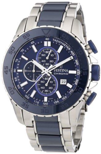 Festina F16628/2 - Reloj cronógrafo de cuarzo para hombre con correa de acero inoxidable, color azul