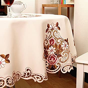 MZPRIDE Modern American Country Style Vintage Handmade Table Cloth Round Table Cloth Wedding Round Tablecloth