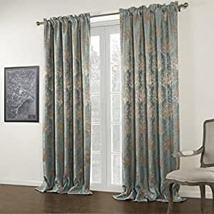 Twopages Jacquard Blue Floral Rod Pocket Blackout Curtain 50wx96 L One Panel