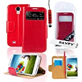SAVFY Premium Samsung Galaxy S4 SIV I9500 Flip S-View Wallet Stand PU Leather Case Cover, With Screen Protector + Stylus Pen (Flip Wallet Stand Red)