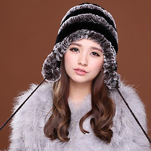 Dngy*Coniglio cappelli di lana pelle cappello di paglia nel vecchio Presidente caldo inverno madre tappi tappo auricolare peli di coniglio autunno inverno , nero colore caffè