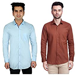 Nimegh Brown, Sky Blue Color Cotton Casual Slim fit Shirt For men's (Pack of 2)