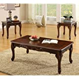 Fraser Old English Style Cherry Finish 3 Piece Coffee & End Table Set