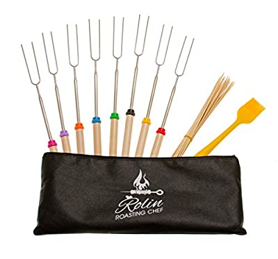 Premium Marshmallow Roasting Sticks set 8 Smores Skewers & 20 Bamboo Sticks & Patio fire Pit & Basting Brush & Bonus Canvas Pouch & 2 EbooK - Camping Cookware Campfire Cooking Kids Accessories
