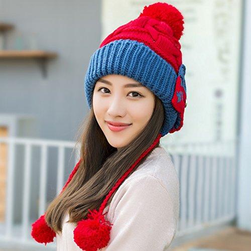 YangR*Cap i bambini in autunno e in inverno elegante bella nagymaros orecchio a sfera maglia hat caldo il panno privo di palla-lana spessi cappelli , rosso