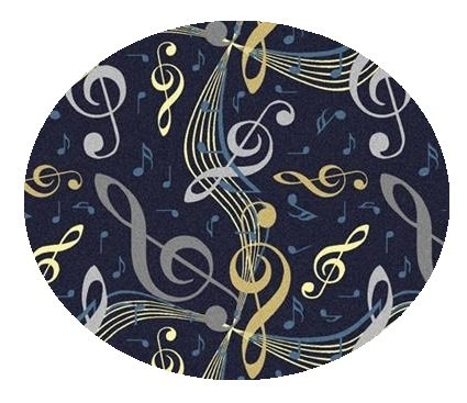 Virtuoso Music Notes Navy Blue - 6' Round Custom Stainmaster Premium Nylon Carpet Area Rug ~ Bound Finished Edges