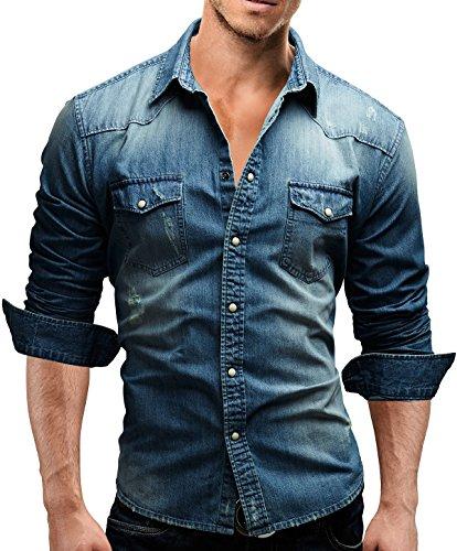 Camicia da uomo Slim Fit Jeans Merish 3 colori statuetta sottolineata dalla Denim easybiz 46 A maniche lunghe per il tempo libero