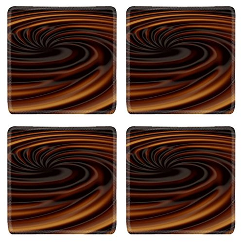 Hot Coffee Chocolate Swirl Texture Punktail'S Collections Square Coaster (4 Piece) Set Fabric Rubber 5 Inch