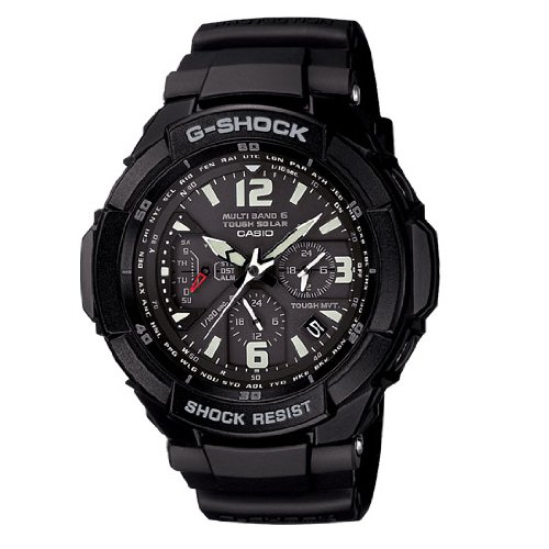 Casio Aviation Black Dial Black Rubber Mens Watch GW3000BB-1A