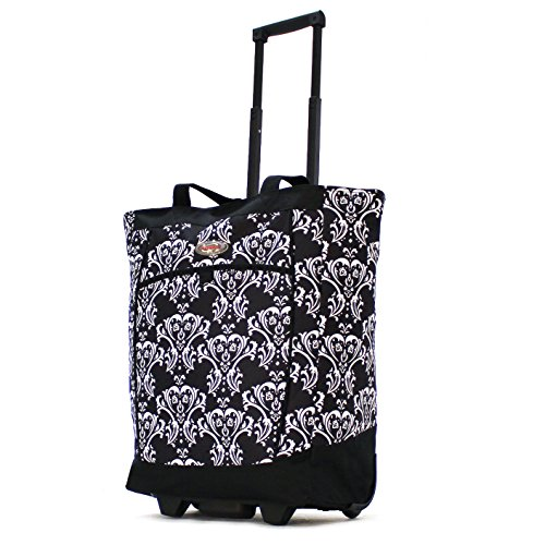 Olympia Fashion Rolling Shopper Tote DB, Damask Black, One Size (Spinner Trolley Tote compare prices)