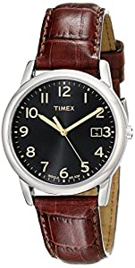 Timex Men's T2N948 Elevated Classics Dress Black Dial Brown Leather Strap Watch