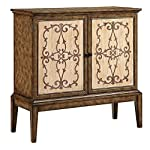"Stein World Veronica 13558 40"" 2-Door Cabinet with Wire Management Hand-Painted Scroll and Cross Design in Taupe and Weathered Light Brown Wood-Tone Finish Door Panels in Vintage Brown"