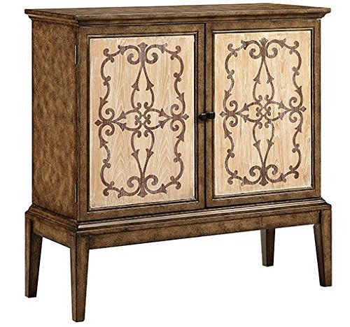 "Stein World Veronica 13558 40"" 2-Door Cabinet with Wire Management Hand-Painted Scroll and Cross Design in Taupe and Weathered Light Brown Wood-Tone Finish Door Panels in Vintage Brown 0"