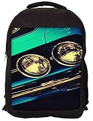 Snoogg Blue Vintage Muscle Car Backpack Rucksack School Travel Unisex Casual Canvas Bag Bookbag Satchel
