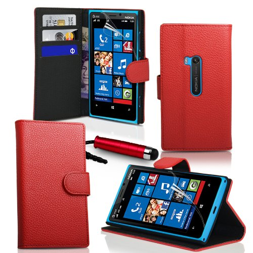 Londonmagicstore® Gadgets Red PU Wallet Leather Case Cover for Nokia Lumia 920 and High Capacitive Touch Screen Stylus and Polishing Cloth - Part of the AIO Accessories Range