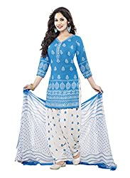 Salwar House Blue & Multicolor Unstitched Synthetic Printed Dress Material with Dupatta