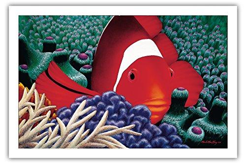 Diva - Hawaïen Poisson Clown De Tomate Dans L'anémone De Mer - Couleur Peinture Originale Original Color Painting by Mark Mackay - Prime 290gsm Giclée Imprime - 61cm x 91cm