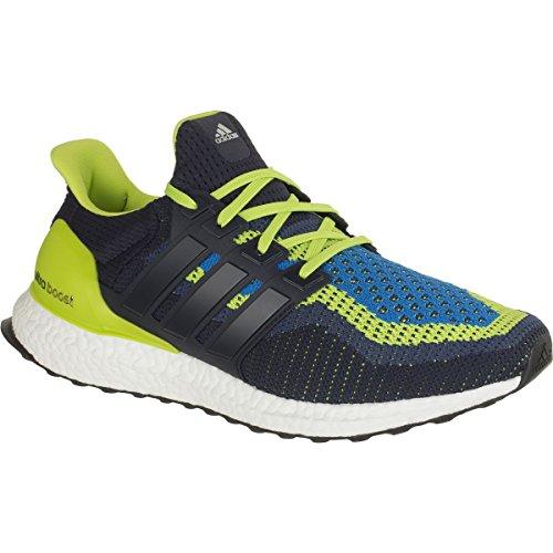 adidas Performance Men's Ultra Boost M Running Shoe, Semi Solar Slime/Night Navy/Shock Blue, 8 M US