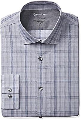 Calvin Klein Men's Stretch Xtreme Slim Fit Large Check Spread Collar Dress Shirt