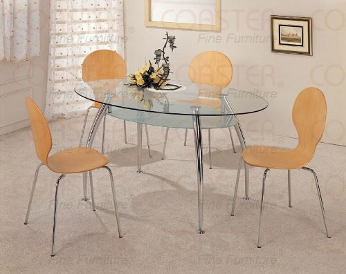 Cheap 5pc Oval Glass Top Muller Natural Dining Table Chairs Set (VF_dinset-120101-2971)