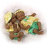 NPKDOLL Indio Style Negro dura de la piel de silicona Simulación de vinilo de 10 pulgadas 26cm impermeable juguete de color amarillo Niño Niña Renacido baño del bebé de la muñeca con el acrílico Ojos Reborn Doll A1ES