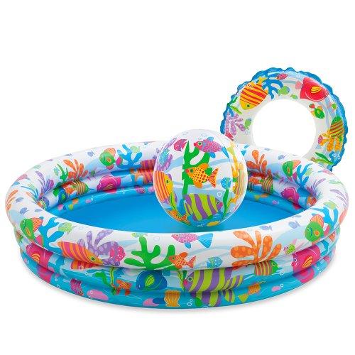 Color Baby - Set piscina, flotador y bal�n, 132 x 28 cm (59469)