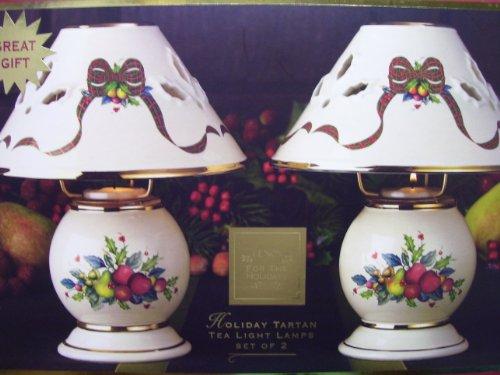 Lenox Holiday Tartan Tealight Candle Lamps - Set Of 2
