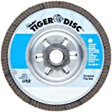 Weiler Tiger Abrasive Flap Disc, Type 29, Threaded Hole, Aluminum Backing, Zirconia Alumina