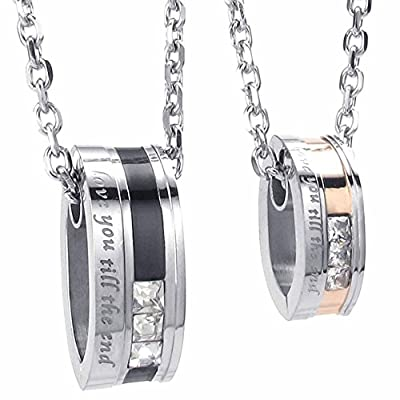 "AnaZoz Stainless Steel Black Gold His Hers CZ Love You Till The End Necklace Set 18/22"" Link"