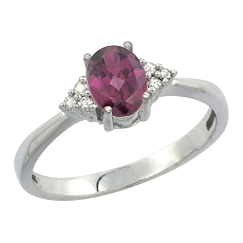 Revoni 14ct White Gold Natural Rhodolite Ring Oval 7x5mm Diamond Accent