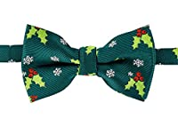 Retreez Christmas Holly Leaves And Berries Woven Pre-tied Boy's Bow Tie