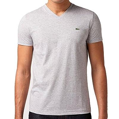 Lacoste Men's Short Sleeve V-Neck Pima Cotton T-Shirt Argent Grey-Medium