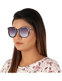 Aislin Premium Cat Eye Sunglasses For Women (Grey Lens Black-Golden Frame)(Size : 54 Mm)(AS-7882-17-LGRY411)