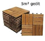 SAM® Terrassenfliese 02 aus Akazien-Holz, 55er Spar-Set für 5 m², Garten-Fliese in 30 x 30 cm, Balkon Bodenbelag mit Drainage, Klick-Fliesen für Garten Terrasse Balkon, Terrassenbelag im Mosaik-Muster