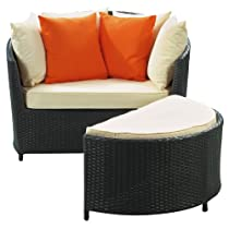 Hot Sale LexMod Wedge Outdoor Wicker Patio Lounge Chair with Ottoman