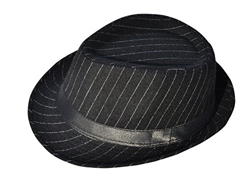 Simplicity Brand New Mens Cool Fedora Trilby Hat Pinstripe with Black Band