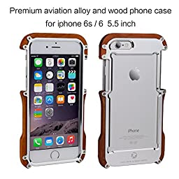 iPhone 6 Plus Case ,R-just iPhone 6s Plus Wood Wooden Metal Phone Case -Unique Timber Cover -Cool Aluminum Metal Shockproof Impact Resistant Prevention Bumper for iPhone 6/6s Plus( 5.5\