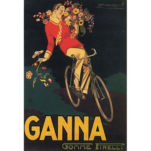 BIKE GANNA BOY FLOWERS ITALY ITALIAN LARGE VINTAGE POSTER REPRO