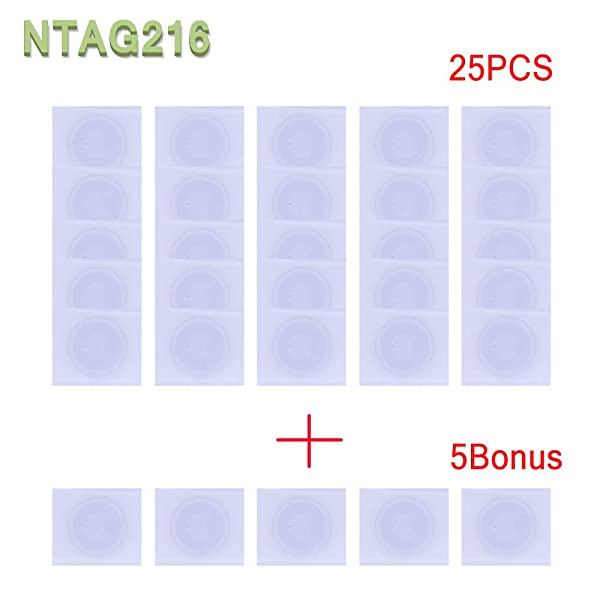 30pcs NTAG216 NFC Stickers/Tag/Adhesive Label RFID IC with 924 Bytes Fast Read/Write/Lock Compatible with All NFC-Enabled Smartphones and Devices (Color: 30PCS, Tamaño: 30PCS)