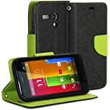 Moto G Case, GMYLE(R) Black & Green PU Leather Protective Flip Folio Slim Fit Wallet Purse Stand Case Cover for Motorola Moto G X1032 2013 (Not Fit For 2014 Version)