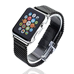 Mydeal 24mm Apple Watch Strap Milanese Loop Mesh Stainless Steel Bracelet Smart Watch Band Strap For Apple Watch iWatch Sport & Edition 42mm With Silver Metal Adapter Clasp - Black