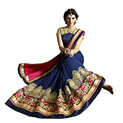 Culture Fab Designer Pink and Blue Georgette Saree