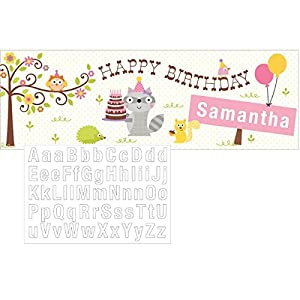 Happi Woodland Girl Giant Banner Add a Name Party Supplies by Creative Converting
