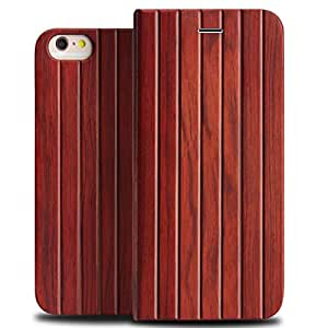 Iphone 6/6s Plus Leather Case, YFWOOD(TM) Iphone 6S Plus Original Wooden + Leather Flip Folio Case with Magnetic Closure Wood Grain Protective Cover Case for Iphone 6 Plus 5.5inch (Rosewood) )