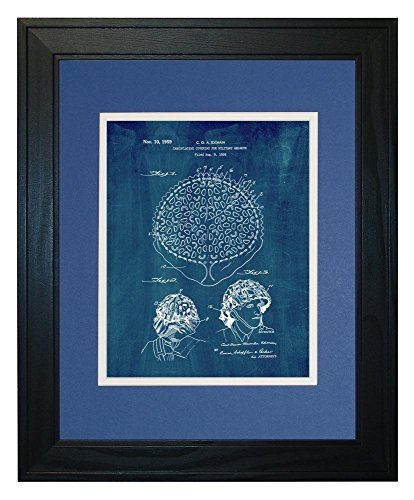 "Camouflaging Covering For Military Helmets Patent Art Midnight Blue Print in a Solid Pine Wood Frame with a Double Mat (11"" x 14"")"